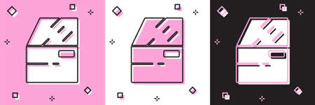 Set Car door icon isolated on pink and white, black background. Vector