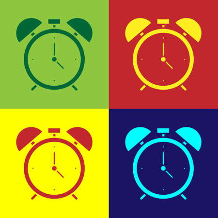 Pop art Alarm clock icon isolated on color background. Wake up, get up concept. Time sign. Vector