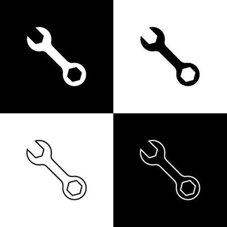 Set Wrench spanner icon isolated on black and white background. Vector
