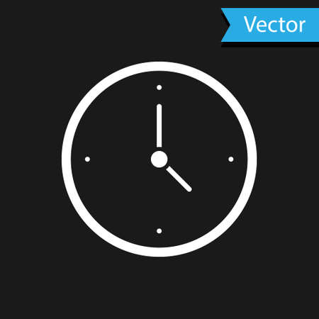 White Clock icon isolated on black background. Time symbol. Vector
