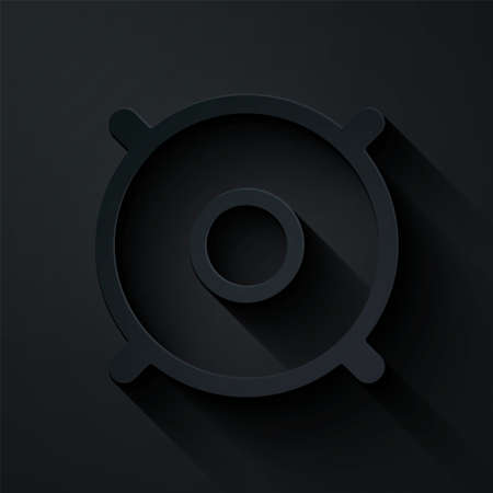Paper cut Car audio speaker icon isolated on black background. Paper art style. Vector