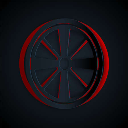 Paper cut Alloy wheel for a car icon isolated on black background. Paper art style. Vector
