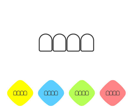 Grey line Dentures model icon isolated on white background. Teeth of the upper jaw. Dental concept. Set icons in color rhombus buttons. Vector Stock Illustratie