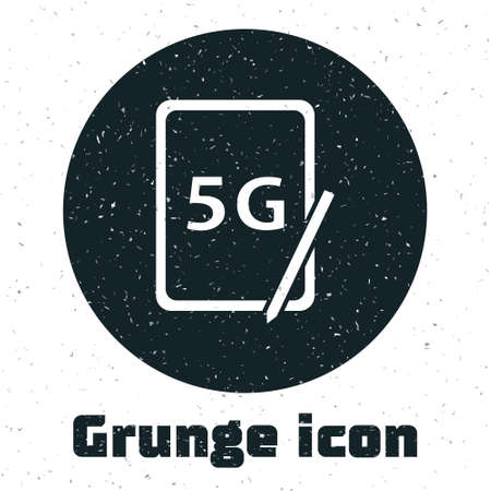 Grunge Graphic tablet with 5G wireless internet wifi icon isolated on white background. Global network high speed connection data rate technology. Monochrome vintage drawing. Vector