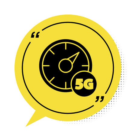 Black Digital speed meter concept with 5G icon isolated on white background. Global network high speed connection data rate technology. Yellow speech bubble symbol. Vector
