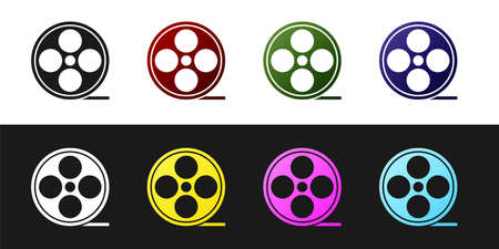 Set Film reel icon isolated on black and white background. Vector