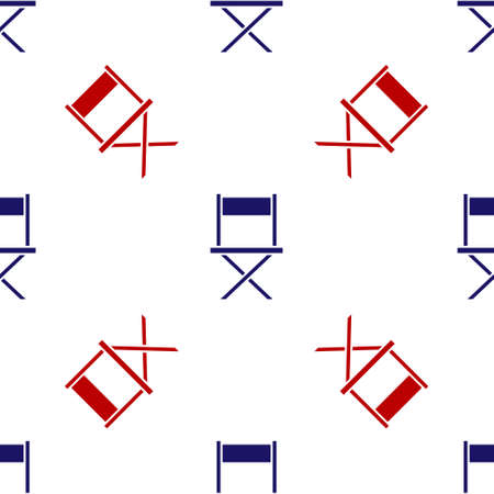Blue and red Director movie chair icon isolated seamless pattern on white background. Film industry. Vector