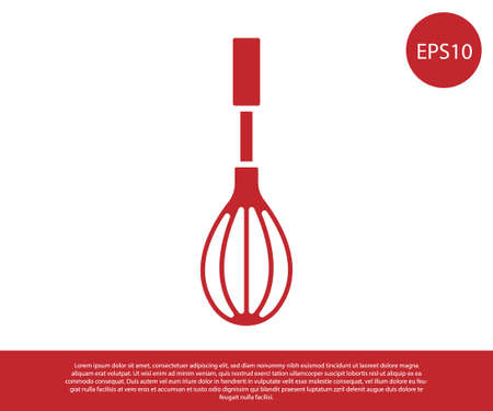 Red Kitchen whisk icon isolated on white background. Cooking utensil, egg beater. Cutlery sign. Food mix symbol. Vector