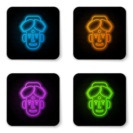 Glowing neon Portrait of Indian man icon isolated on white background. Hindu men. Black square button. Vector