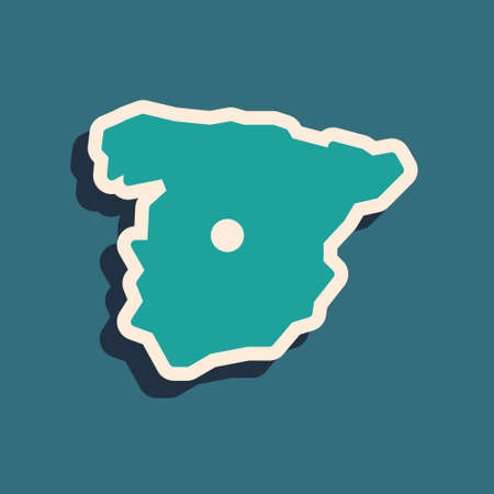 Green Map of Spain icon isolated on green background. Long shadow style. Vector