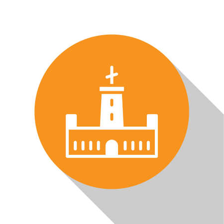 White Montjuic castle icon isolated on white background. Barcelona, Spain. Orange circle button. Vector 일러스트