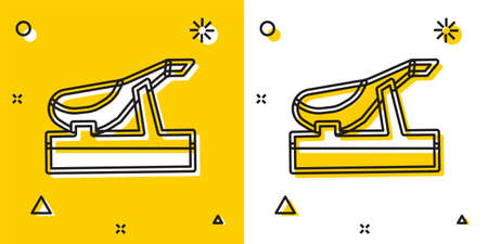 Black Spanish jamon on the wooden jamonera icon isolated on yellow and white background. Random dynamic shapes. Vector
