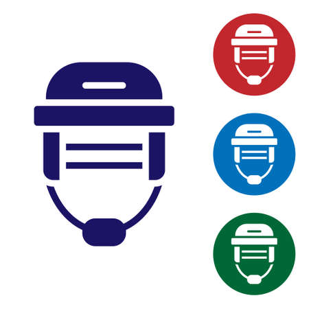 Blue Hockey helmet icon isolated on white background. Set icons in color square buttons. Vector