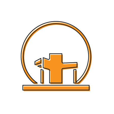 Orange Montreal Biosphere icon isolated on white background. Vector Illustration