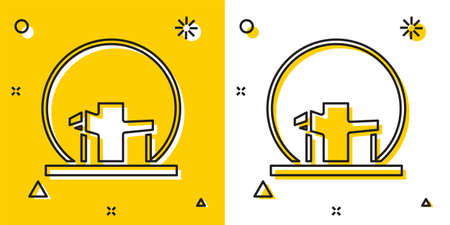 Black Montreal Biosphere icon isolated on yellow and white background. Random dynamic shapes. Vector