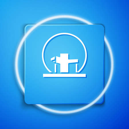 White Montreal Biosphere icon isolated on blue background. Blue square button. Vector