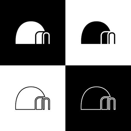 Set Igloo ice house icon isolated on black and white background. Snow home, Eskimo dome-shaped hut winter shelter, made of blocks. Vector