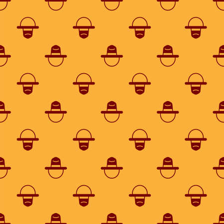 Red Canadian ranger hat uniform icon isolated seamless pattern on brown background. Vector
