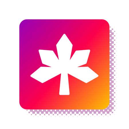 White Chestnut leaf icon isolated on white background. Square color button. Vector Ilustração