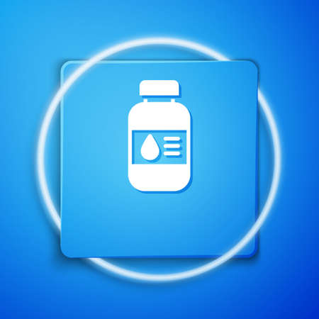 White Printer ink bottle icon isolated on blue background. Blue square button. Vector