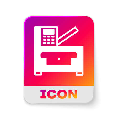 White Office multifunction printer copy machine icon isolated on white background. Rectangle color button. Vector