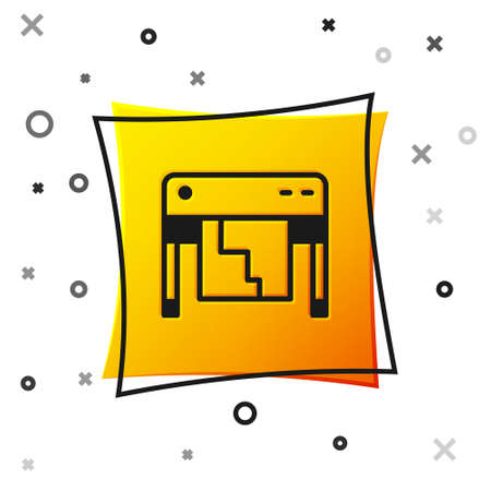 Black Plotter icon isolated on white background. Large format multifunction printer. Polygraphy, printshop service. Yellow square button. Vector Ilustrace