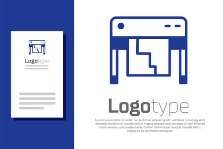 Blue Plotter icon isolated on white background. Large format multifunction printer. Polygraphy, printshop service. Logo design template element. Vector