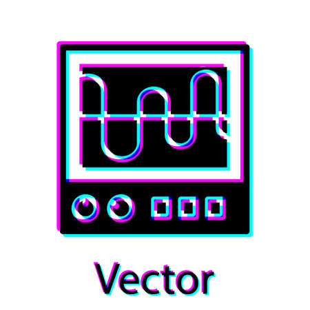 Black Oscilloscope measurement signal wave icon isolated on white background. Vector