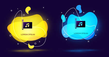 Black Music festival, access, flag, music note icon isolated on black background. Abstract banner with liquid shapes. Vector