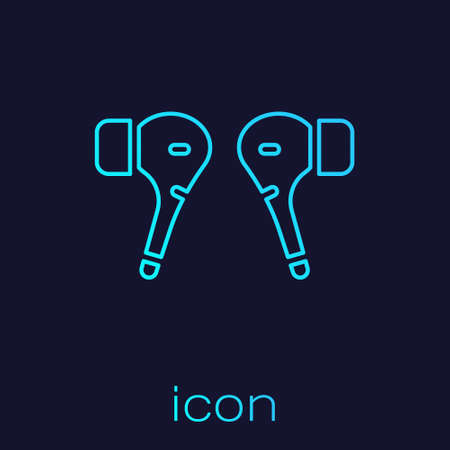Turquoise line Air headphones icon icon isolated on blue background. Holder wireless in case earphones garniture electronic gadget. Vector