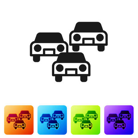 Black Traffic jam on the road icon isolated on white background. Road transport. Set icons in color square buttons. Vector Ilustração