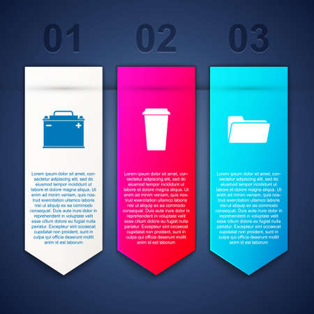 Set Car battery, Coffee cup and Folder. Business infographic template. Vector Vecteurs