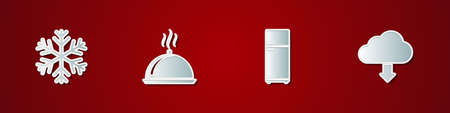 Set Snowflake, Covered with tray of food, Refrigerator and Cloud download icon. Vector