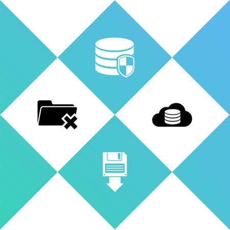 Set Delete folder, Floppy disk backup, Database protection and Cloud database icon. Vector
