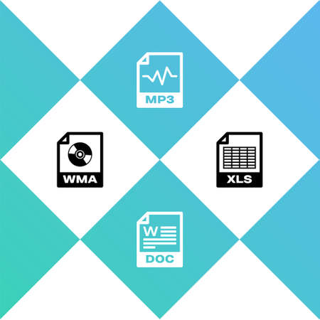Set WMA file document, DOC, MP3 and XLS icon. Vector Illustration
