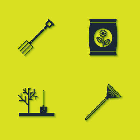 Set Garden pitchfork, rake leaves, Planting tree in the ground and Fertilizer bag icon. Vector