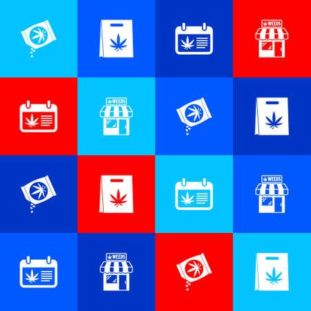 Set Marijuana or cannabis seeds, Shopping bag of marijuana, Calendar and and store icon. Vector