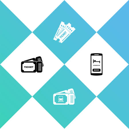 Set Ticket, Train ticket, and Online hotel booking icon. Vector