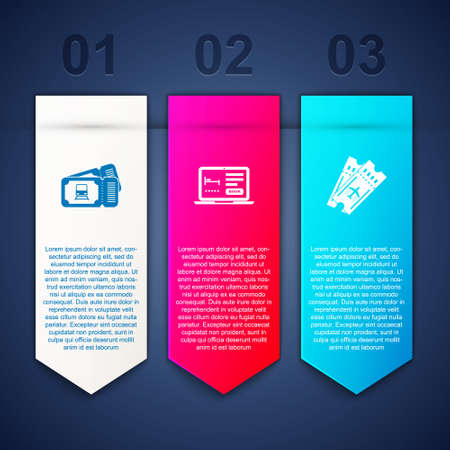 Set Train ticket, Online hotel booking and Airline. Business infographic template. Vector