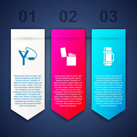 Set Slingshot, Lighter and container. Business infographic template. Vector