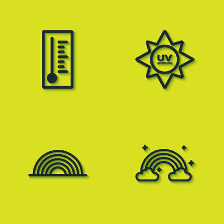 Set Meteorology thermometer, Rainbow with clouds, and UV protection icon. Vector Vektorové ilustrace