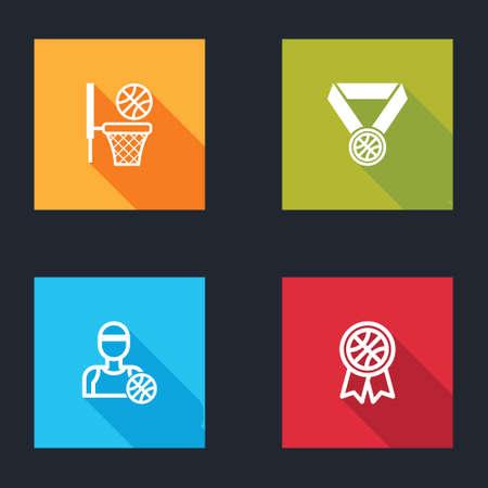 Set Basketball ball and basket, medal, player and award icon. Vector Vektorové ilustrace