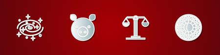 Set Milky way spiral galaxy, Pig zodiac, Libra and Astrology horoscope circle icon. Vector