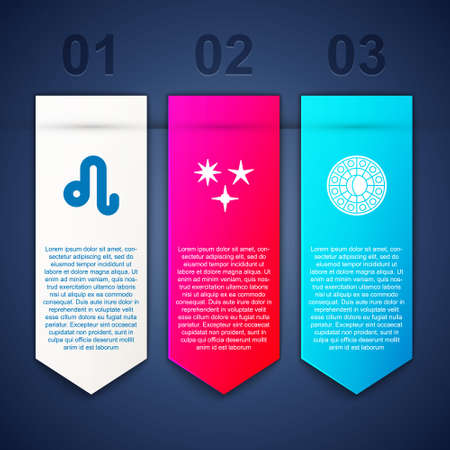Set Leo zodiac, Falling star and Astrology horoscope circle. Business infographic template. Vector