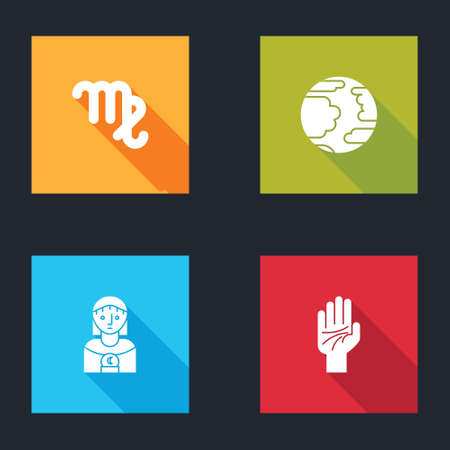 Set Virgo zodiac, Planet Mercury, Astrology woman and Palmistry of the hand icon. Vector Illustration