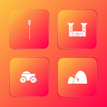 Set Medieval chained mace ball, Castle, Wooden four-wheel cart and Bale of hay and rake icon. Vector