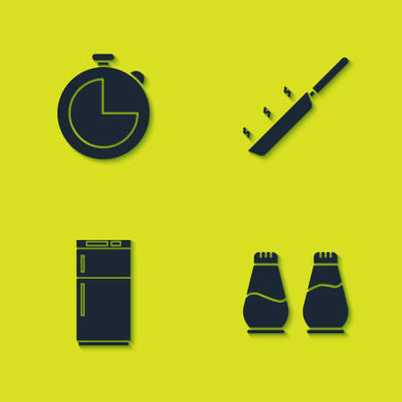 Set Kitchen timer, Salt and pepper, Refrigerator and Frying pan icon. Vector