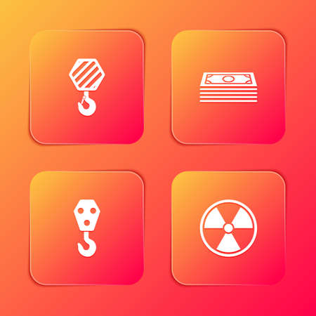 Set Industrial hook, Stacks paper money cash, and Radioactive icon. Vector