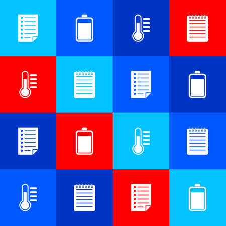Set Document, Battery, Thermometer and Notebook icon. Vector Vektorové ilustrace