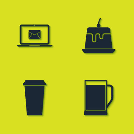 Set Laptop with envelope, Glass of beer, Coffee cup and Pudding custard icon. Vector